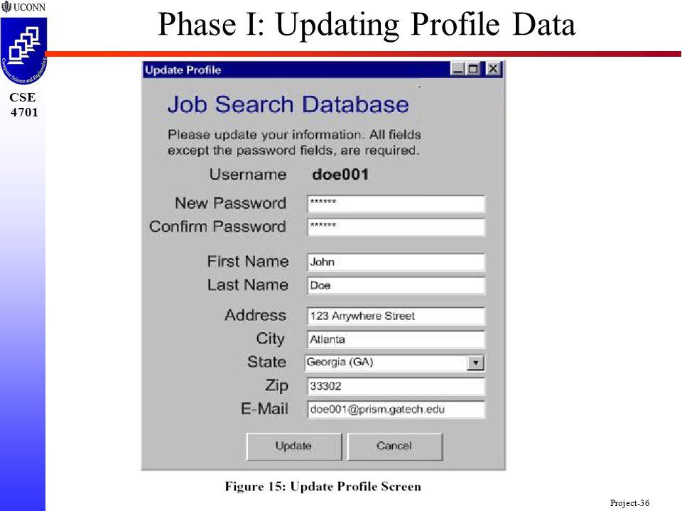 CSE 4701 Project-36 Phase I: Updating Profile Data