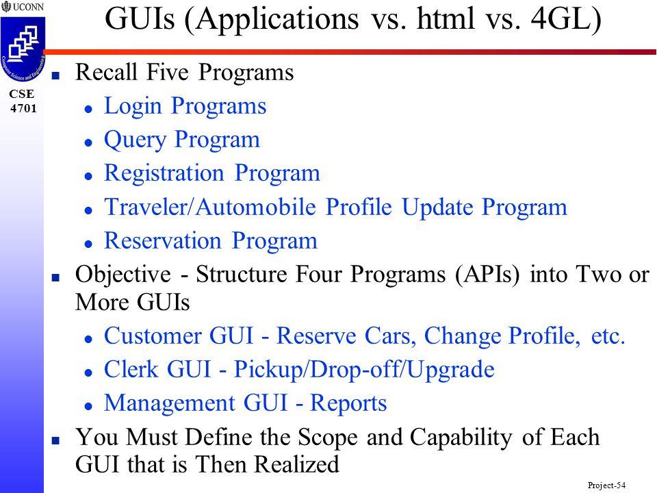 CSE 4701 Project-54 GUIs (Applications vs. html vs.