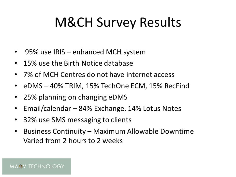 M&CH Survey Results 95% use IRIS – enhanced MCH system 15% use the Birth Notice database 7% of MCH Centres do not have internet access eDMS – 40% TRIM, 15% TechOne ECM, 15% RecFind 25% planning on changing eDMS Email/calendar – 84% Exchange, 14% Lotus Notes 32% use SMS messaging to clients Business Continuity – Maximum Allowable Downtime Varied from 2 hours to 2 weeks