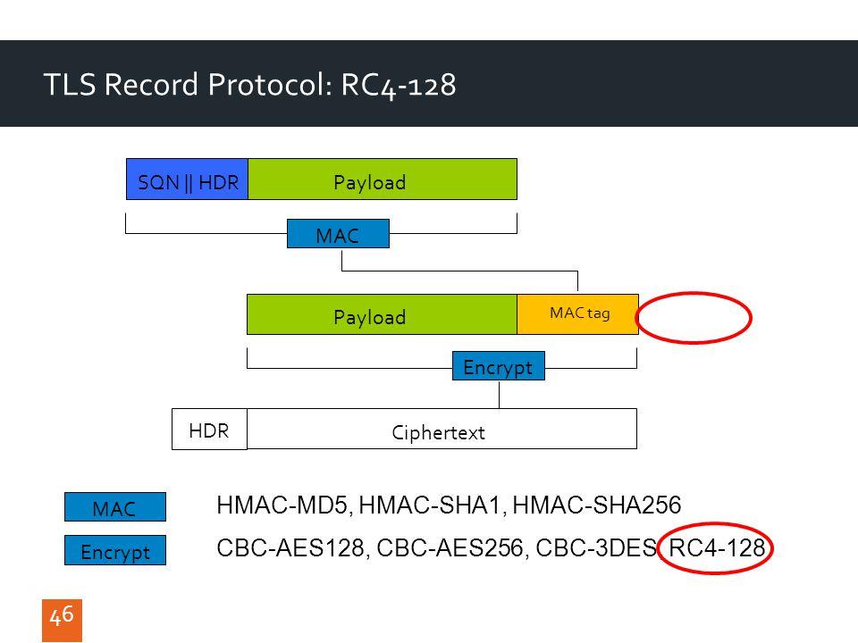 46 TLS Record Protocol: RC4-128 46 MAC SQN || HDR Payload Encrypt Ciphertext MAC tag Payload HDR MAC HMAC-MD5, HMAC-SHA1, HMAC-SHA256 Encrypt CBC-AES128, CBC-AES256, CBC-3DES, RC4-128