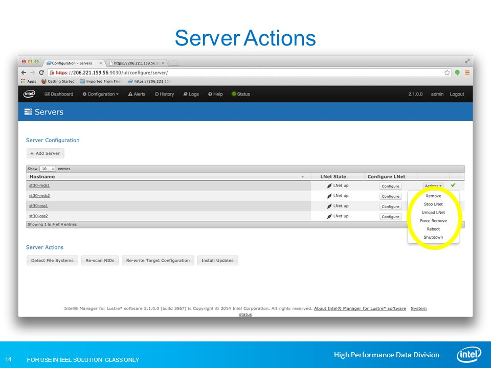 FOR USE IN IEEL SOLUTION CLASS ONLY 14 High Performance Data Division Server Actions