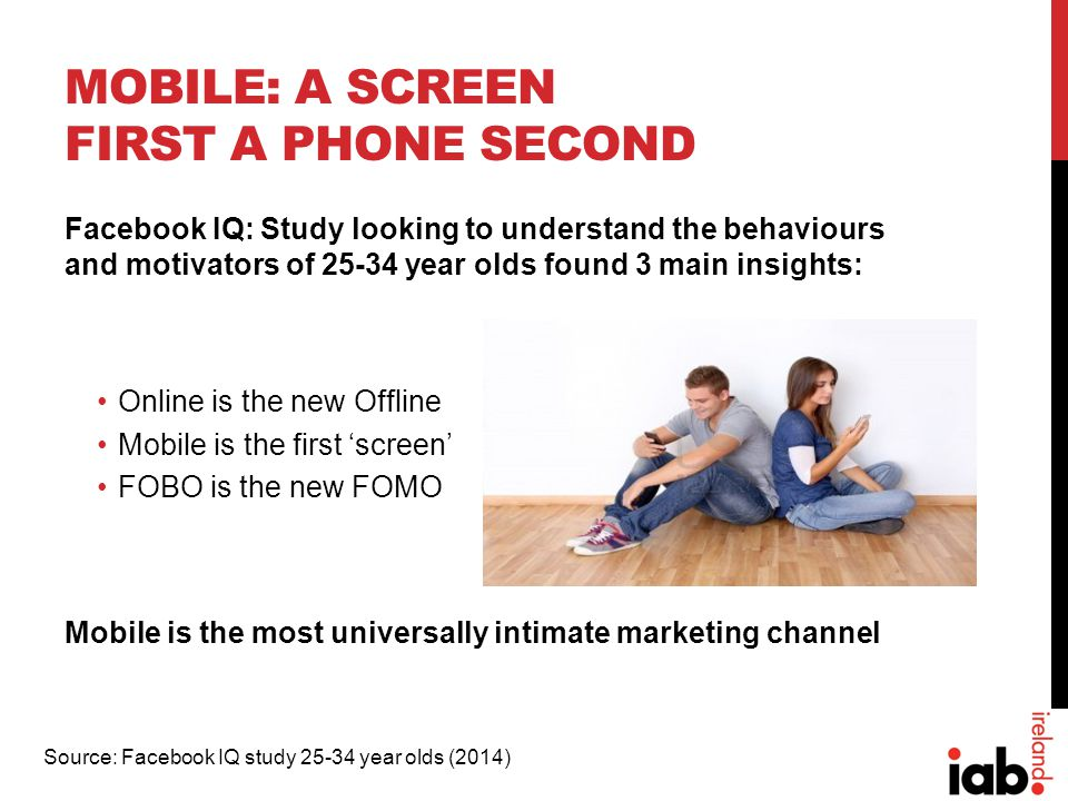 MOBILE: A SCREEN FIRST A PHONE SECOND Facebook IQ: Study looking to understand the behaviours and motivators of 25-34 year olds found 3 main insights: Online is the new Offline Mobile is the first 'screen' FOBO is the new FOMO Mobile is the most universally intimate marketing channel Source: Facebook IQ study 25-34 year olds (2014)