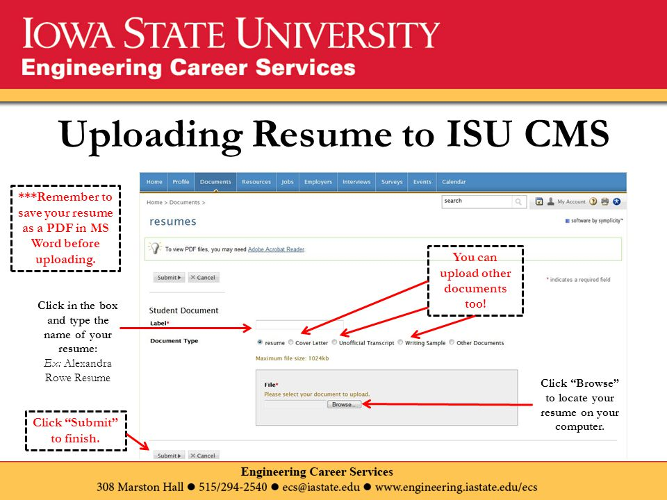 Uploading Resume to ISU CMS Click Browse to locate your resume on your computer.