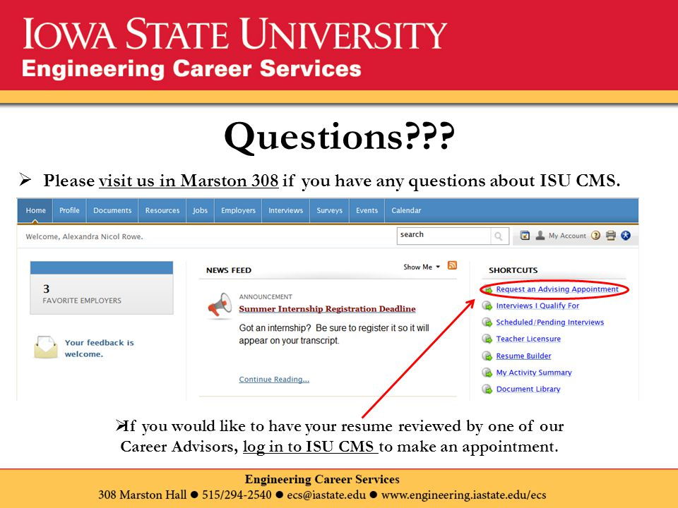 Questions??. Please visit us in Marston 308 if you have any questions about ISU CMS.