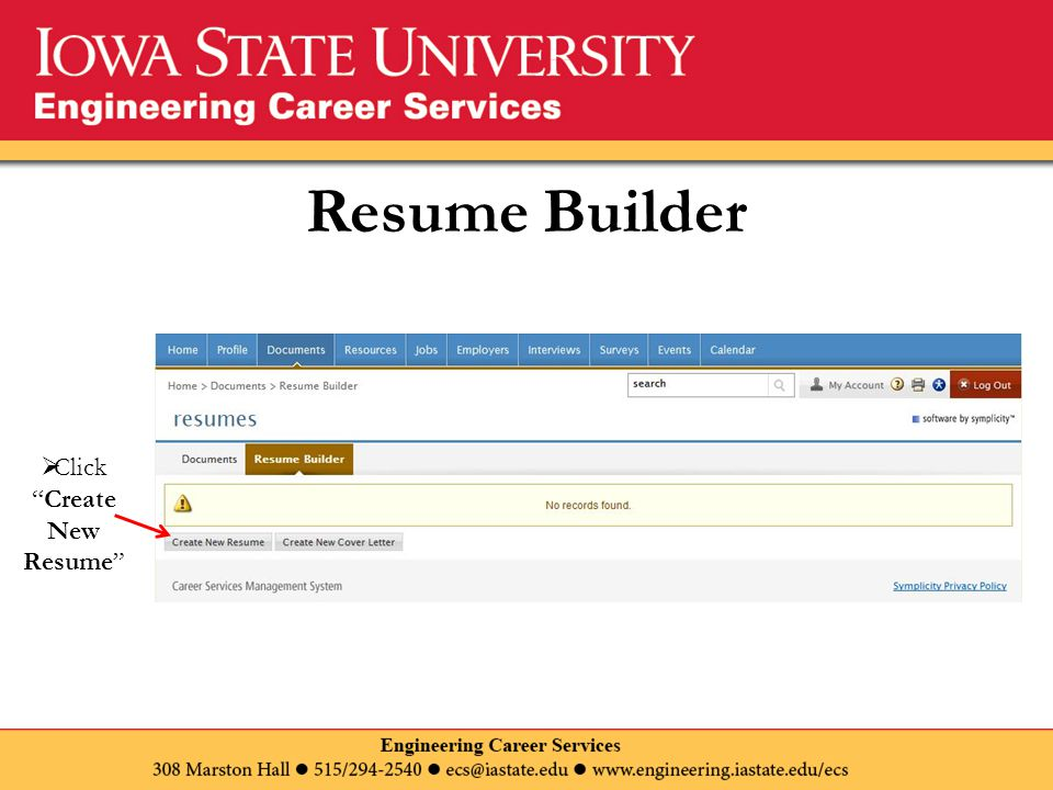 Resume Builder  Click Create New Resume