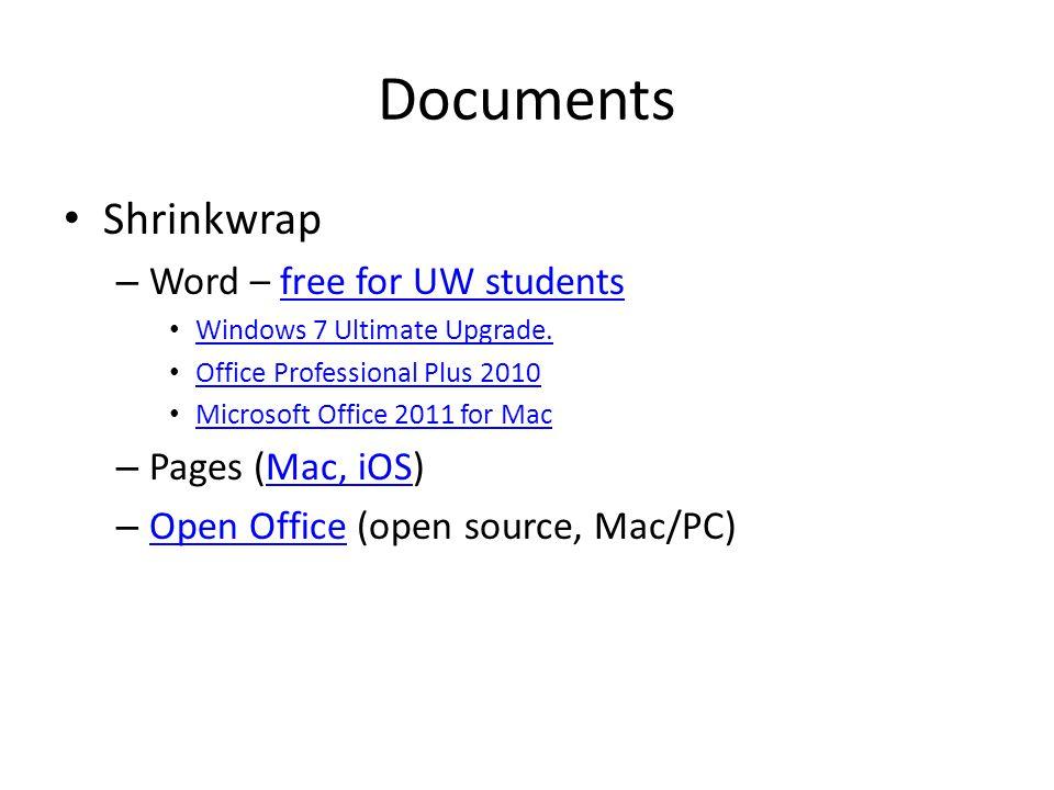 Documents Webware – Acrobat.com Acrobat.com – GoogleDocs – Microsoft OfficeLive – TypeWithMe.com TypeWithMe.com
