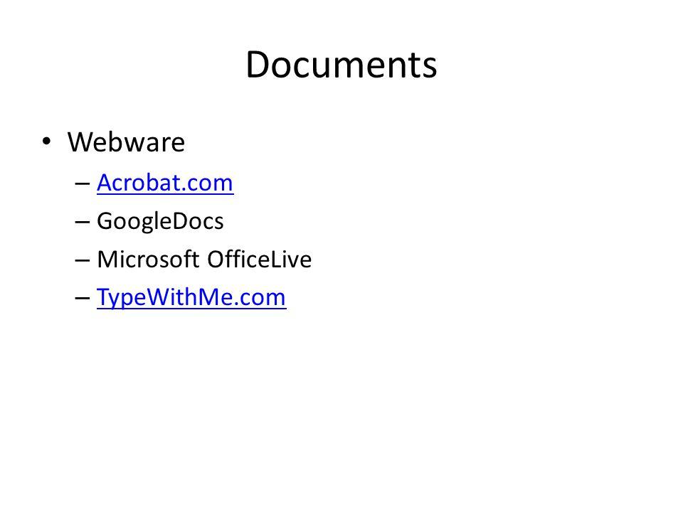 Documents : Warnings Formatting inconsistencies (especially typeface) Mac folks -> remember file extensions To be safe, also make a PDF – Mac: Print -> Save As PDF – Adobe.com online converter Adobe.com online converter – Zamzar (more later) – Of course, Adobe AcrobatProAdobe AcrobatPro