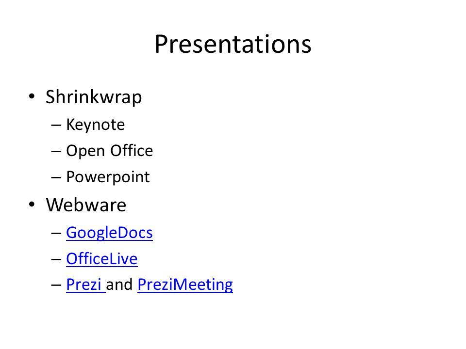 Presentations Shrinkwrap – Keynote – Open Office – Powerpoint Webware – GoogleDocs GoogleDocs – OfficeLive OfficeLive – Prezi and PreziMeeting Prezi PreziMeeting