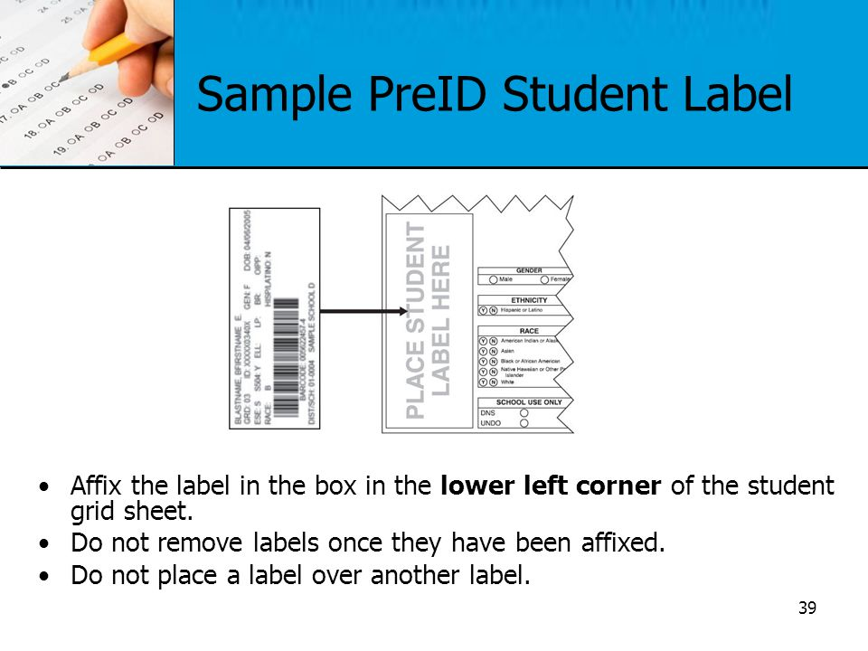 Sample PreID Student Label Affix the label in the box in the lower left corner of the student grid sheet. Do not remove labels once they have been aff
