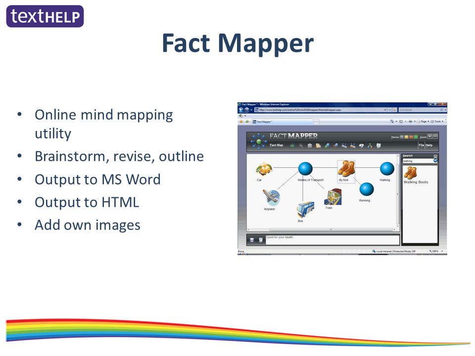 Fact Mapper Online mind mapping utility Brainstorm, revise, outline Output to MS Word Output to HTML Add own images