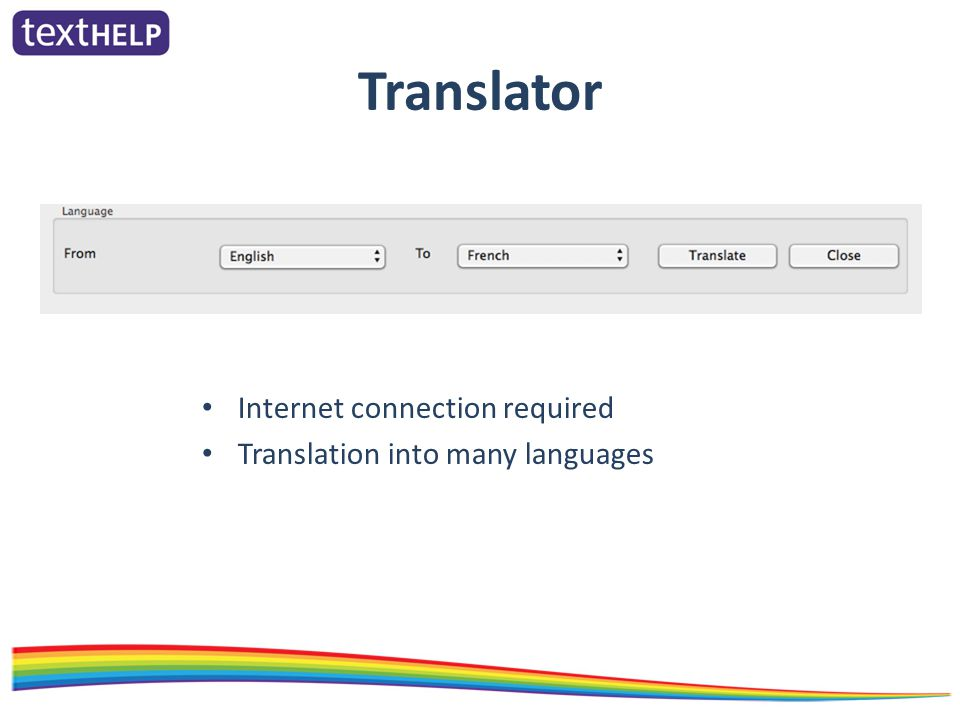 Translator Internet connection required Translation into many languages