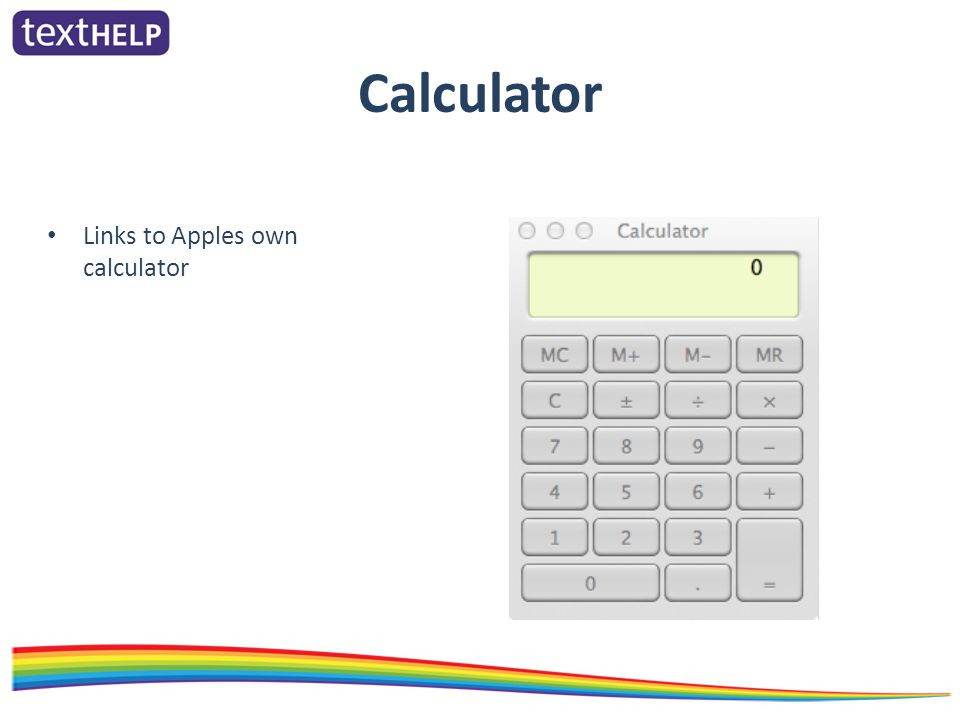Calculator Links to Apples own calculator