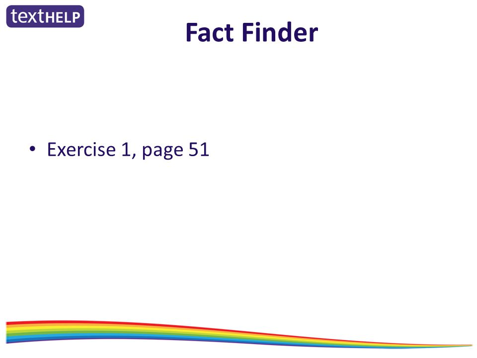 Fact Finder Exercise 1, page 51