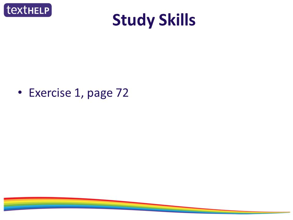 Study Skills Exercise 1, page 72