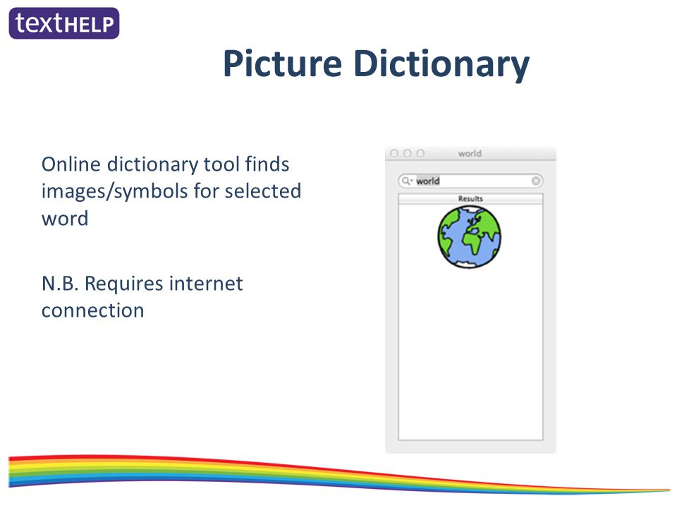 Picture Dictionary Online dictionary tool finds images/symbols for selected word N.B.