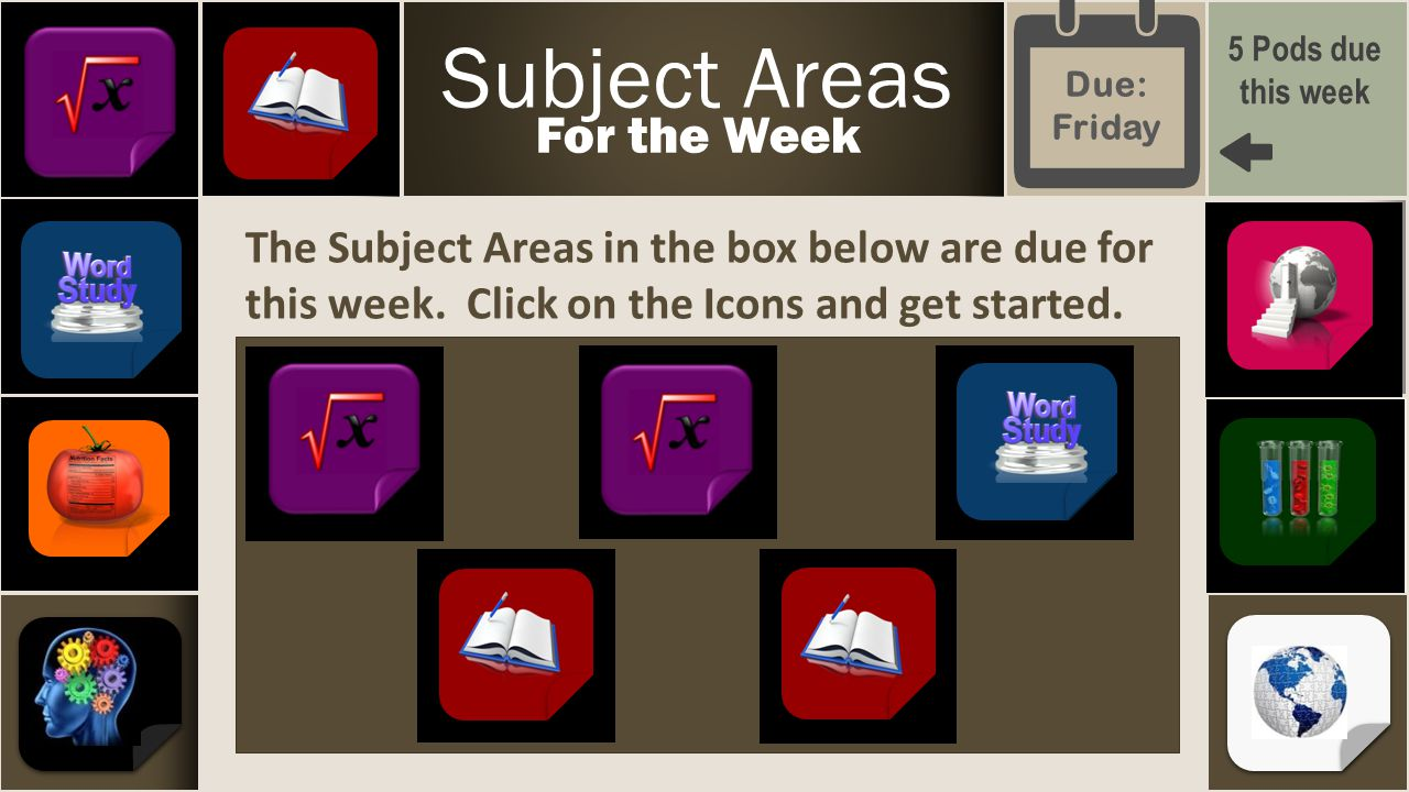 The Subject Areas in the box below are due for this week.