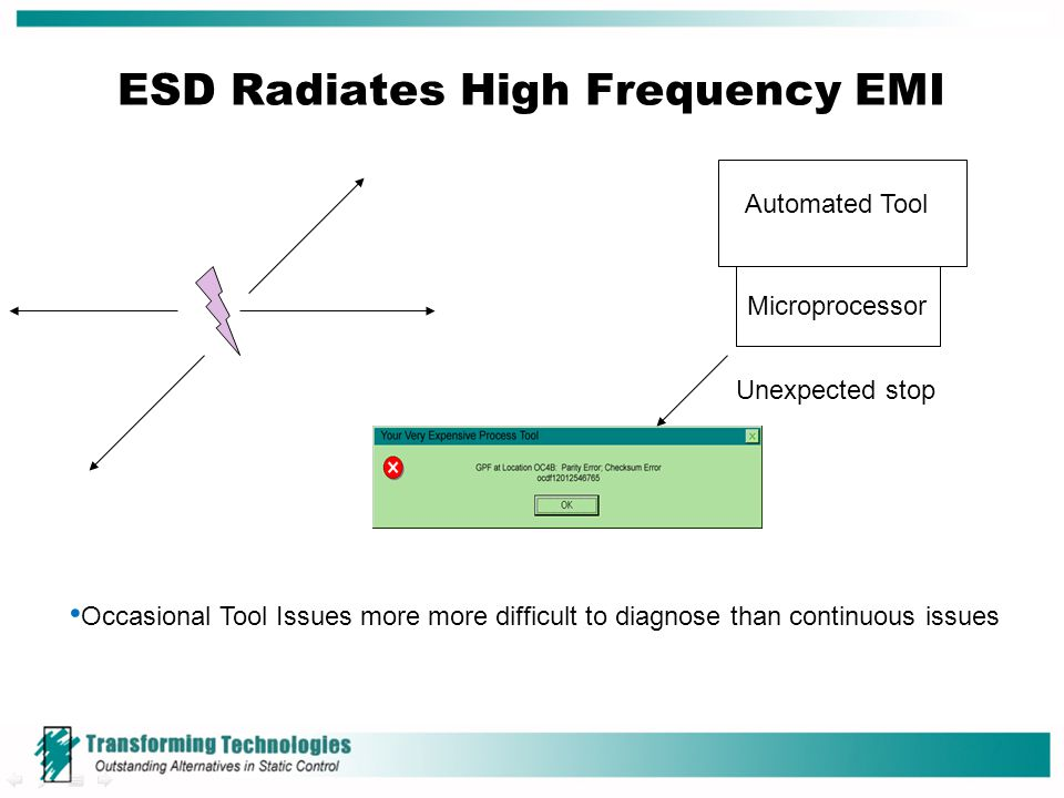 ESD Radiates High Frequency EMI Automated Tool Microprocessor Occasional Tool Issues more more difficult to diagnose than continuous issues Unexpected