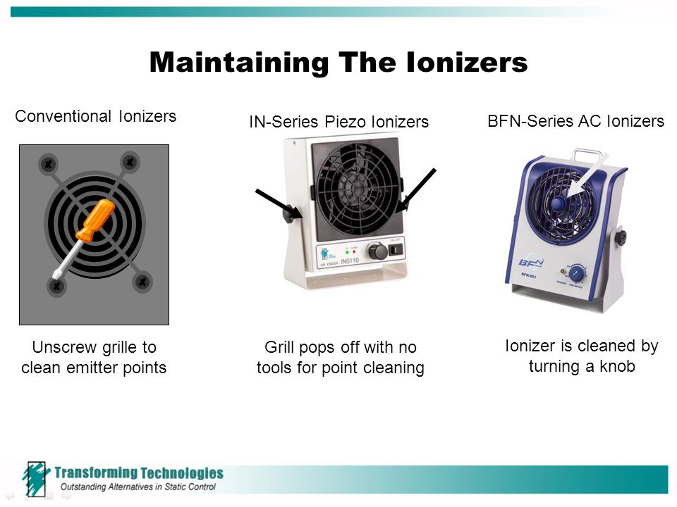 Maintaining The Ionizers Conventional Ionizers Unscrew grille to clean emitter points IN-Series Piezo Ionizers BFN-Series AC Ionizers Grill pops off w