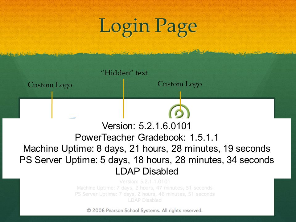 "Login Page Custom Logo ""Hidden"" text Version: 5.2.1.6.0101 PowerTeacher Gradebook: 1.5.1.1 Machine Uptime: 8 days, 21 hours, 28 minutes, 19 seconds PS"