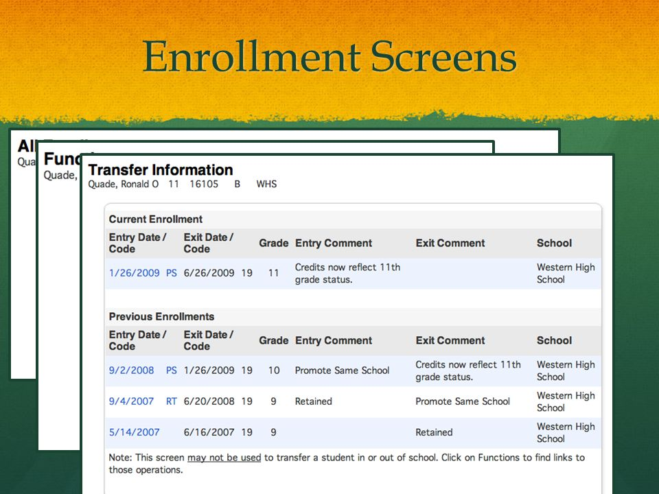 Enrollment Screens