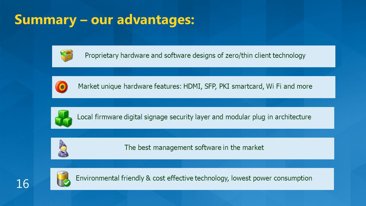 Proprietary hardware and software designs of zero/thin client technology Market unique hardware features: HDMI, SFP, PKI smartcard, Wi Fi and more Local firmware digital signage security layer and modular plug in architecture The best management software in the market Environmental friendly & cost effective technology, lowest power consumption Summary – our advantages: