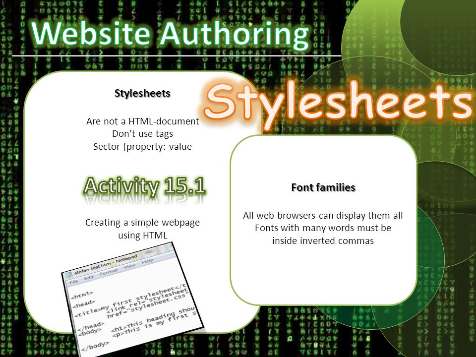 Creating a Stylesheet ICT for IGCSE – Syllabus Cambridge IGCSE ® Information and Communication Technologyhttp://www.webmonkey.com/2010/02/color_charts/