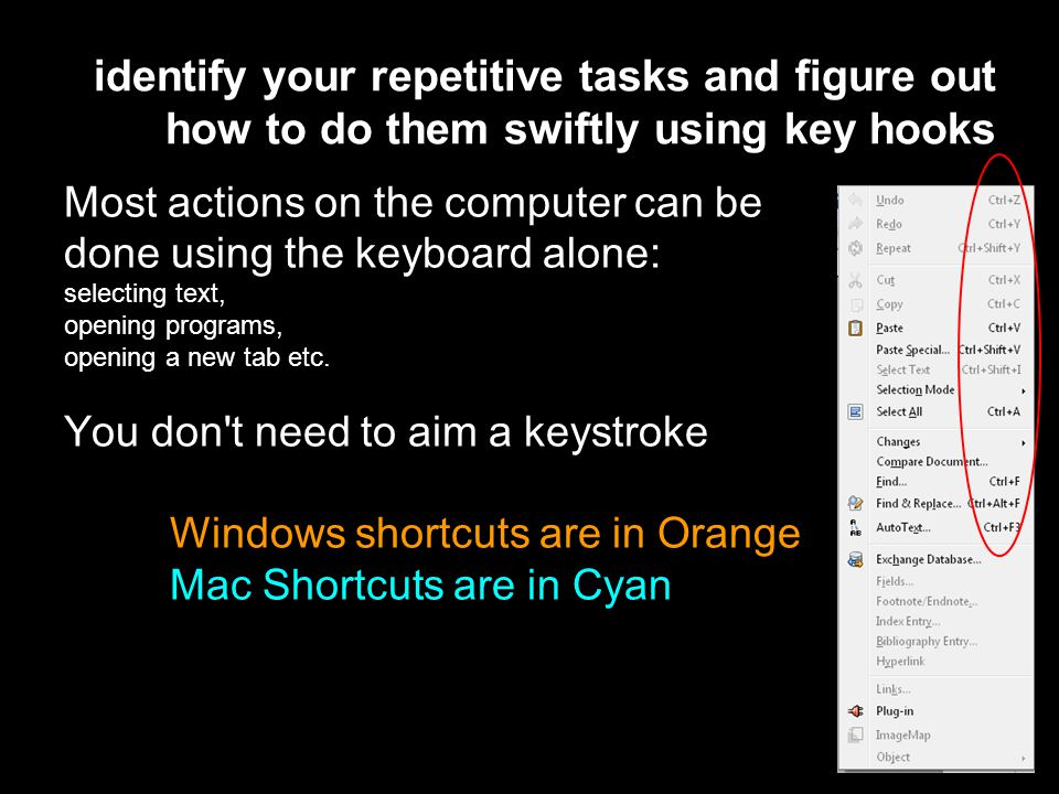 Most actions on the computer can be done using the keyboard alone: selecting text, opening programs, opening a new tab etc.