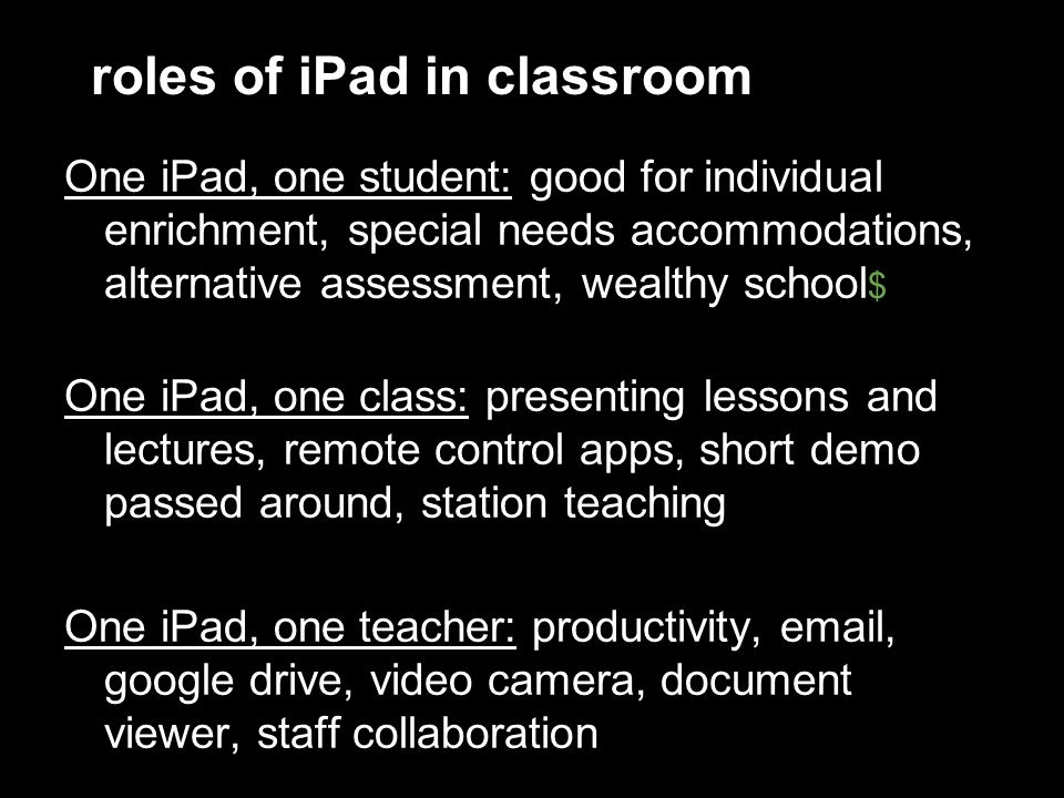 roles of iPad in classroom One iPad, one student: good for individual enrichment, special needs accommodations, alternative assessment, wealthy school $ One iPad, one class: presenting lessons and lectures, remote control apps, short demo passed around, station teaching One iPad, one teacher: productivity, email, google drive, video camera, document viewer, staff collaboration