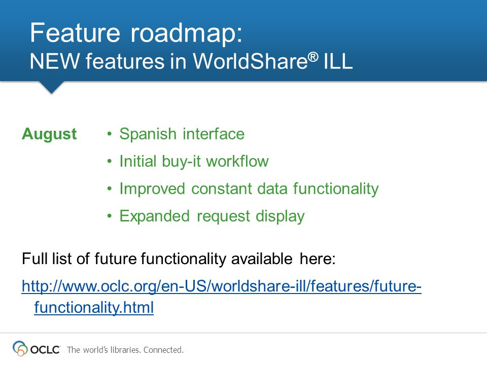 The world's libraries. Connected. Feature roadmap: NEW features in WorldShare ® ILL Spanish interface Initial buy-it workflow Improved constant data f