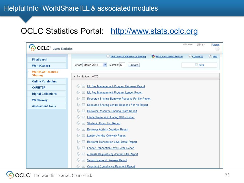 The world's libraries. Connected. Helpful Info- WorldShare ILL & associated modules 33 OCLC Statistics Portal: http://www.stats.oclc.orghttp://www.sta