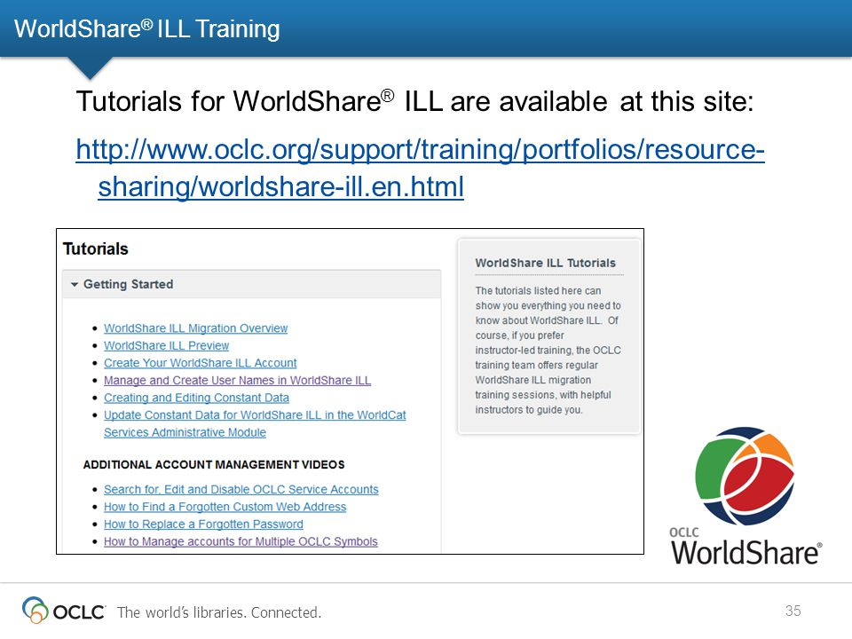 The world's libraries. Connected. WorldShare ® ILL Training 35 Tutorials for WorldShare ® ILL are available at this site: http://www.oclc.org/support/