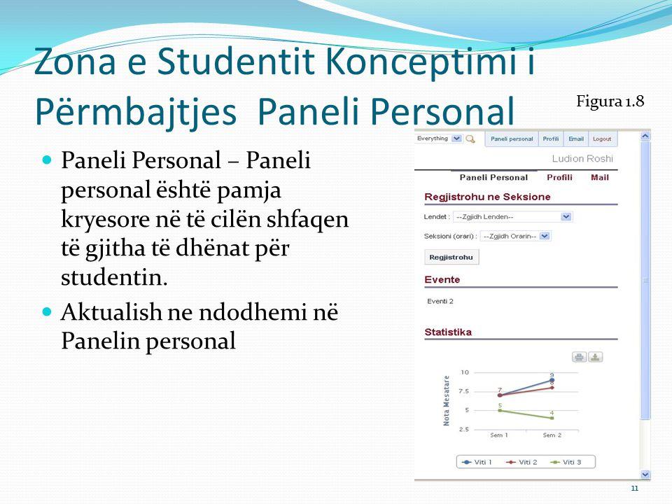 Zona e Studentit Konceptimi i Përmbajtjes - Profili Profili përmban të dhëna personale anagrafike për studentin Mjaton të klikoni me mouse mbi Profili dhe do t'ju shfaqen të dhënat anagrafike për profilin.