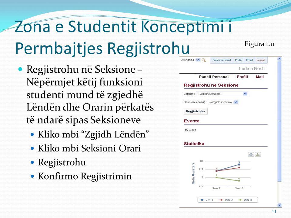 Zona e Studentit Konceptimi i Permbajtjes Regjistrohu Shpjegime Regjistrohu në Seksione – Nëpërmjet këtij funksioni studenti mund të zgjedhë Lëndën dhe Orarin përkates të ndarë sipas Seksioneve Kliko mbi Zgjidh Lëndën – Studenti mund të zgjedhë lëndën që dëshiron sipas orarit të përcaktuar në bazë të kritereve të kurikulës dhe krediteve që duhet të plotësojë për t`u diplomuar.