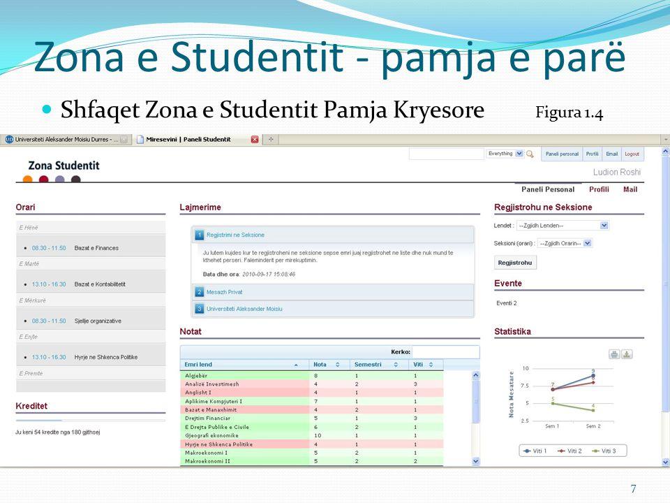 Zona e Studentit Konceptimi i Përmbajtjes (I) Majtas Zona e Studentit është e konceptuar në tre kolona kryesore ku në secilën nga kolonat shfaqet informacioni për studentin që është loguar në sistem Në të majtë shfaqet informacioni për orarin të ndarë sipas diteve të javës Kreditet – Në Pjesën e krediteve jepet vlera e akumuluar deri tani dhe vlera në total e krediteve që duhet te plotësojë studenti për t`u diplomuar.