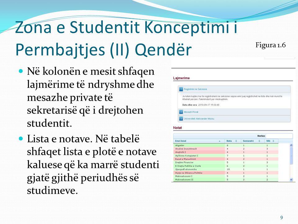 Zona e Studentit Konceptimi i Përmbajtjes (III) Djathtas Në kolonën nga e djathta gjejmë Rubrikat: Paneli Personal Profili Mail Regjistrohu në Seksione Evente Statistika Figura 1.7 10