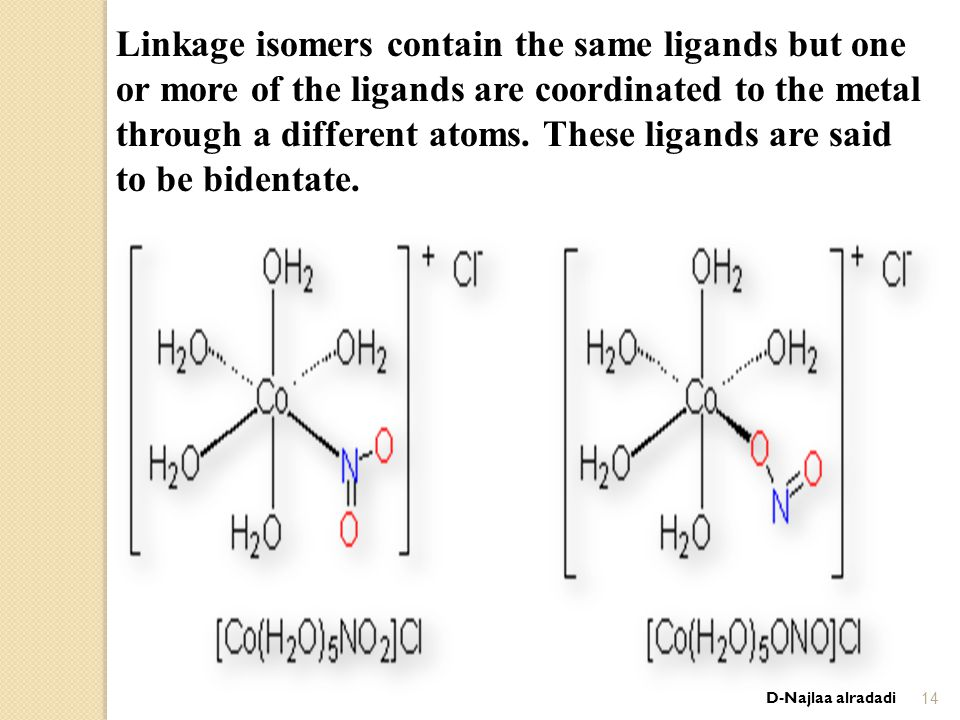 D-Najlaa alradadi14 Linkage isomers contain the same ligands but one or more of the ligands are coordinated to the metal through a different atoms.