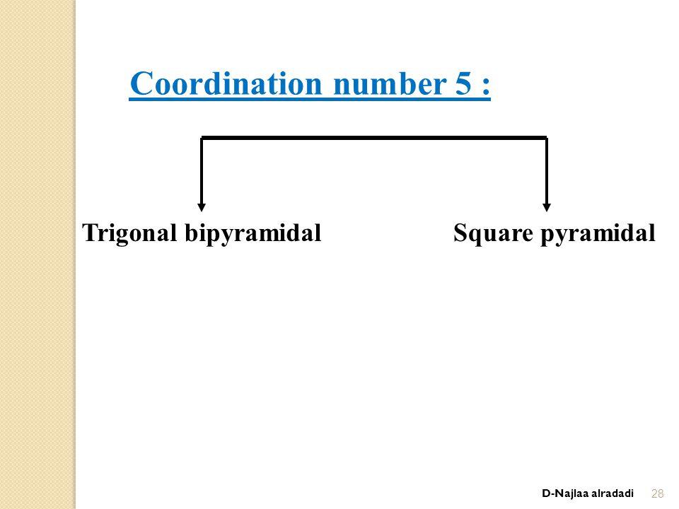 D-Najlaa alradadi28 Coordination number 5 : Square pyramidalTrigonal bipyramidal