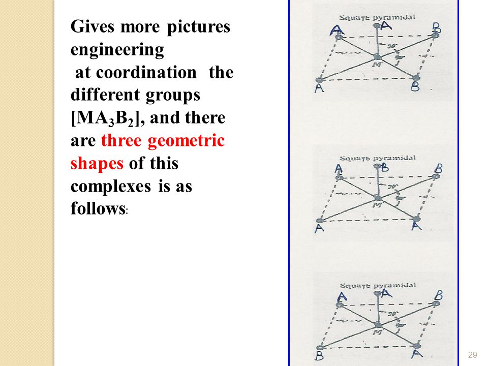 D-Najlaa alradadi29 Gives more pictures engineering at coordination the different groups [MA 3 B 2 ], and there are three geometric shapes of this complexes is as follows :