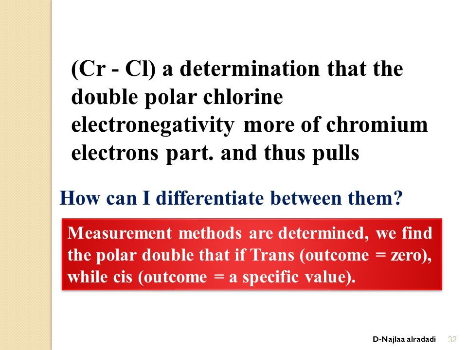 D-Najlaa alradadi32 (Cr - Cl) a determination that the double polar chlorine electronegativity more of chromium and thus pulls.electrons part How can I differentiate between them.
