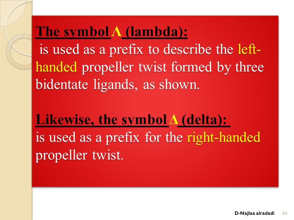 is used as a prefix to describe the left- handed propeller twist formed by three bidentate ligands, as shown.
