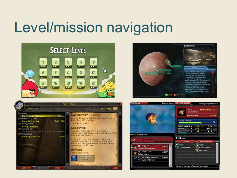 Level/mission navigation