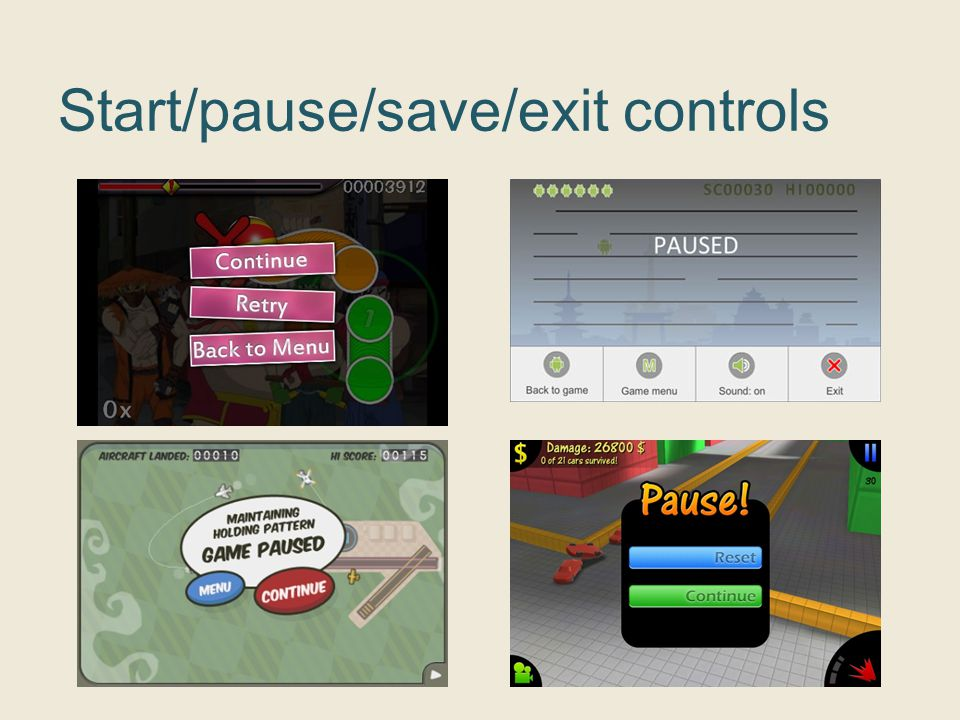 Start/pause/save/exit controls