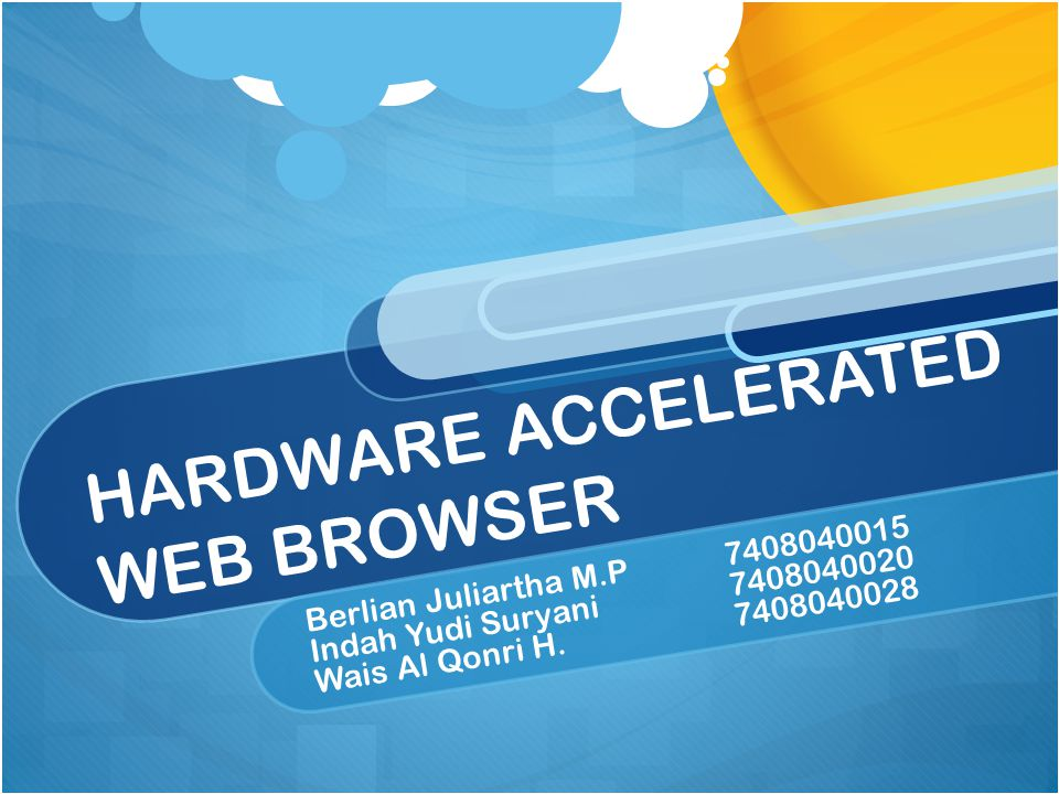 HARDWARE ACCELERATED The latest area of focus is hardware acceleration — when the browser hands off processor-intensive tasks to the computer's graphics processor to make animations and page rendering faster and smoother.