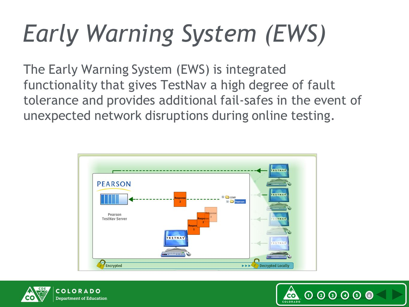 Early Warning System (EWS) The Early Warning System (EWS) is integrated functionality that gives TestNav a high degree of fault tolerance and provides additional fail-safes in the event of unexpected network disruptions during online testing.