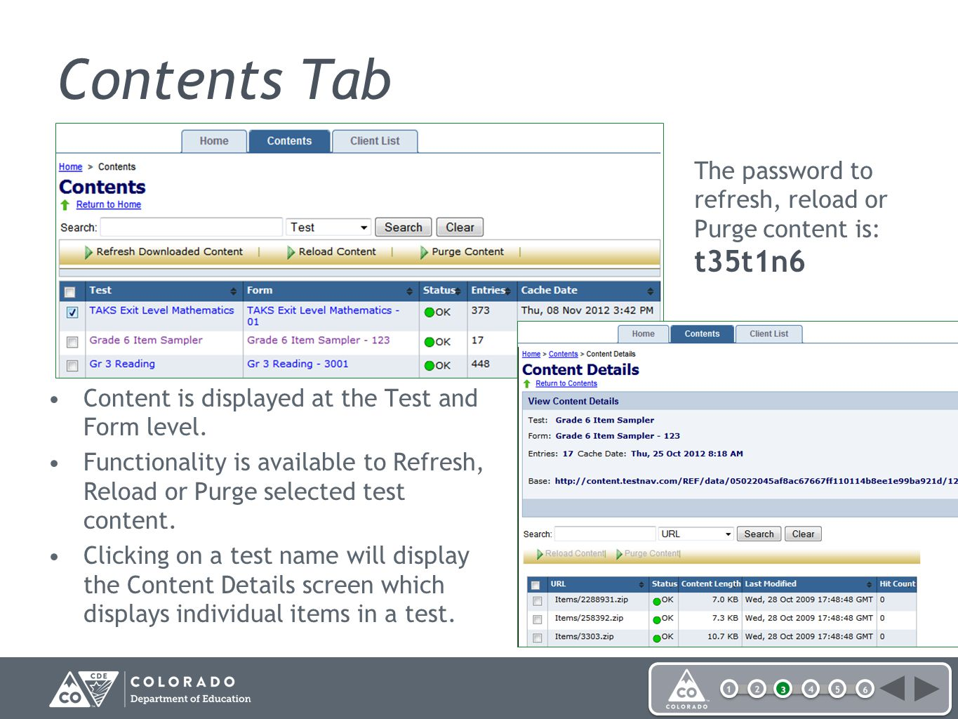 Content is displayed at the Test and Form level.