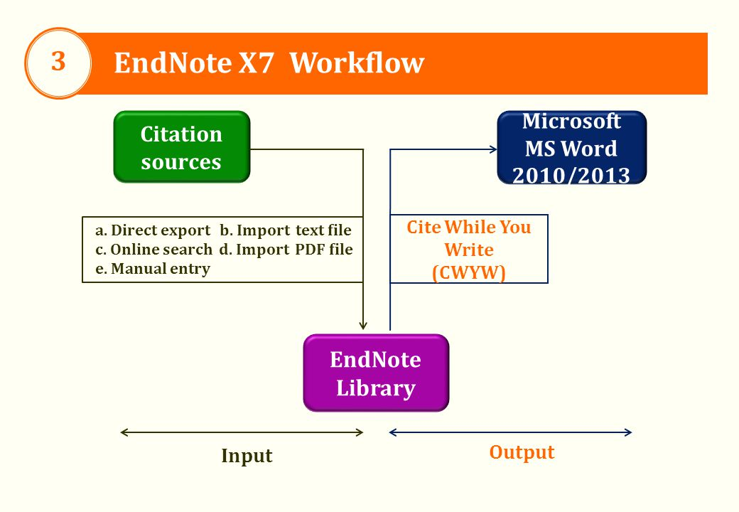 EndNote Library Microsoft MS Word 2010/2013 Citation sources Output Input a.