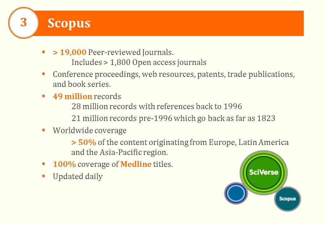Scopus 3  > 19,000 Peer-reviewed Journals.