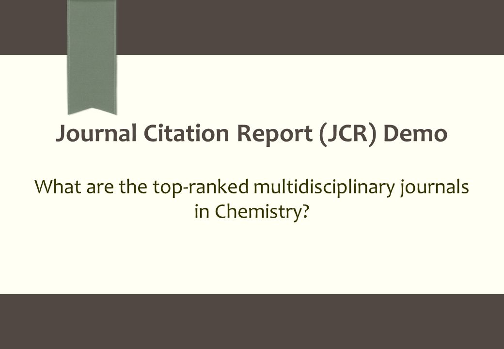 What are the top-ranked multidisciplinary journals in Chemistry Journal Citation Report (JCR) Demo