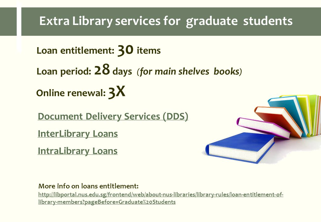 Loan entitlement: 30 items Loan period: 28 days ( for main shelves books ) Online renewal: 3X Document Delivery Services (DDS) InterLibrary Loans IntraLibrary Loans More info on loans entitlement: http://libportal.nus.edu.sg/frontend/web/about-nus-libraries/library-rules/loan-entitlement-of- library-members pageBefore=Graduate%20Students Extra Library services for graduate students
