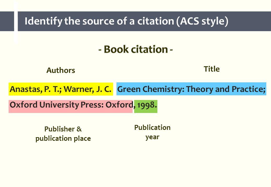 Authors Title Publisher & publication place Publication year Anastas, P.